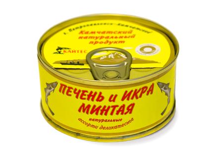 Печень и икра минтая натуральные. «Ассорти деликатесное» (120 г)