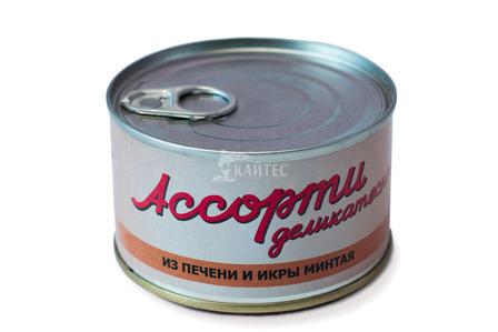 «Ассорти деликатесное» Печень и икра минтая натуральные. (220 г)